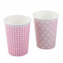 8+Χάρτινα+ποτήρια+ροζ+καρό