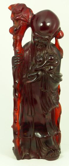 CHINESE CARVED CHERRY AMBER SHOU XING