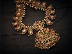 Indian Jewellery and Clothing: Stunning magaya mala from MP Swarna Mahal..studded with rubies,eemeralds and uncut diamonds