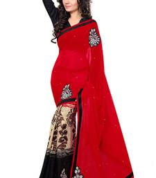 Buy Red and Black embroidered chiffon saree with blouse party-wear-saree online