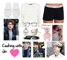 """""""Cooking with Jin ~~"""" by dounia-bts-swag ❤ liked on Polyvore featuring Marc Jacobs, Calvin Klein, Versace, Frency & Mercury and McQ by Alexander McQueen"""