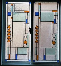 Frank Lloyd Wright Designs | Stained glass window with a Frank Lloyd Wright style light screen