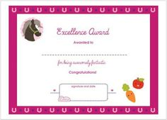Horse themed award certificate for girls.    Free printable fun award.