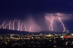 Image Detail for - Lightning Storm. Lightning multi cloud to ground strikes behind metro Tucson city center at twilight. Arizona.