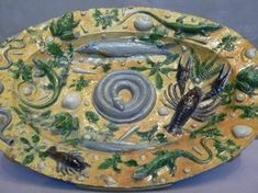 Palissy rustic ware featuring casts of sea life French 1550.