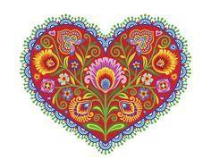 "Wycinanki Giclee Folk Art Print ""Joyful Heart"" in Folk Colors 8x10, by Mary Tanana, Groovity Designs."