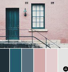 a color palette inspired by indigo doors (Akula Kreative), . - a color palette inspired by indigo doors (Akula Kreative), - Kitchen Wall Colors, Kitchen Color Schemes, Interior Design Color Schemes, Color Interior, Kitchen Ideas Color, Pink Kitchen Walls, Pink Kitchen Cabinets, Dining Room Colour Schemes, Floors Kitchen