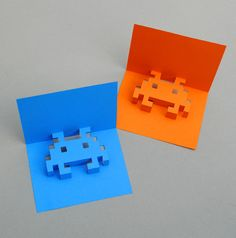 Kate over at Mini-eco has posted instructions on how to make 8-bit graphics-inspired pop-up cards. via CRAFT