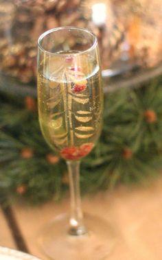 Pomegranate Bellini & DIY handpainted champagne glasses