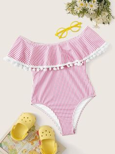 To find out about the Girls Striped Pom Pom Trim Flounce One Piece Swimwear at SHEIN, part of our latest Girls Swimwear ready to shop online today! One Piece Swimwear, One Piece Swimsuit, Kids Bathing Suits, Baby Swimwear, Girl Outfits, Cute Outfits, Flounce Bikini, White Chic, Stuck
