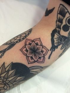 9f5af263d Small dot work flower tattoo by Travis Allen Twisted Tattoo Yaxley Www.  twistedtattoo.co