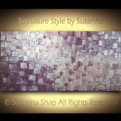 ORIGINAL Large  Modern Art Metallic Abstract Painting Dusty Purple Pink Silver Squares Thick Texture Palette Knife Painting by Susanna 48x24 via Etsy