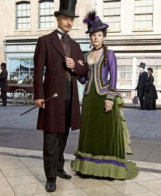 The Weston's of The Paradise. Love the burgundy, royals, aubergines, greens, and blues of the costumes, especially the men's coats, vests and silk ties,.. handsome.