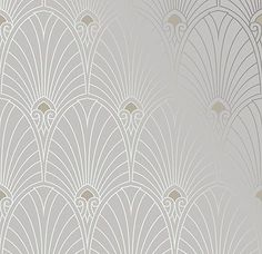 Bradbury Art Deco Designs | Deco Fan Wallpaper in Platinum