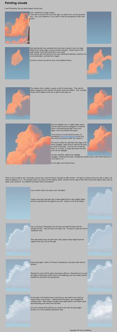 How to paint clouds #tutorial via http://artkink.tumblr.com/post/27659667880/eyecager-how-to-cloud-source
