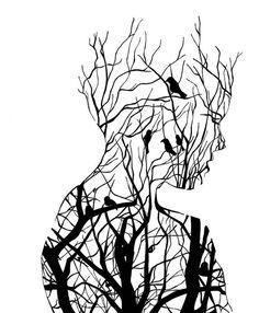 Tree Silhouette is part of pencil-drawings - 14 x 18 print Cool Art Drawings, Pencil Art Drawings, Art Drawings Sketches, Eye Drawings, Drawing Ideas, Art And Illustration, Art Paintings, Watercolor Paintings, Art Du Croquis
