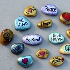 KINDNESS ROCKS - find some flat stones - clean and decorate with paint, glitter, stickers etc. - a coat of clear varnish helps protect. www.ripplekindness.org