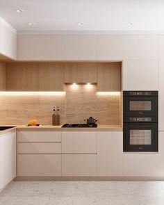 Small Modern Kitchens, Modern Kitchen Interiors, Luxury Kitchen Design, Kitchen Room Design, Kitchen Cabinet Design, Home Decor Kitchen, Interior Design Kitchen, Home Kitchens, Contemporary Kitchens