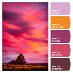 Paint colors from Chip It! by Sherwin-Williams - Color palette Color Palette For Home, Color Schemes Colour Palettes, Colour Pallete, Color Combinations, Sunset Colors, Sunset Color Palette, Design Seeds, Color Studies, Colour Board