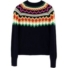 Stella Jean Long Sleeve Sweater (4.003.635 IDR) ❤ liked on Polyvore featuring tops, sweaters, dark blue, multicolor sweater, blue sweater, colorful tops, dark blue tops and blue long sleeve top