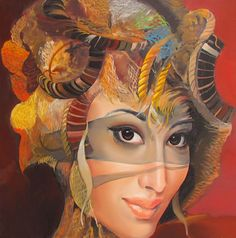 Artist: Andrius Kovelinas {contemporary surrealism female head woman face portrait painting}