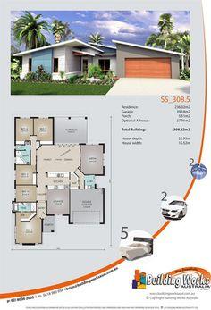 Sprawling single-storey home (design no. SS_308_5) comprising 5 bedrooms, 2 bathrooms, 2 car garage. www.buildingworksaust.com.au  #sydneybuilder #australianhomes