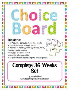 The Early Finisher's Choice Board (Complete 36 Week Set) School Hacks, School Fun, School Ideas, School Stuff, School Tips, Classroom Organization, Classroom Management, Classroom Ideas, Organization Ideas