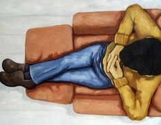 Relaxing - large figurative oil painting, painting by artist Linda Apple