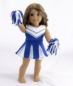 Cheerleading Outfit, Blue/White - clothes for American Girl® and other 18 inch dolls - sportswear, pom poms