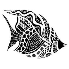 tribal whale: Monochrome Zentangle stylized Fish. Hand Drawn doodle vector illustration isolated on white background. Sketch for tattoo or makhenda. Sea food collection.