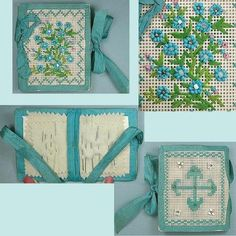 Antique-Beaded-Bristol-Board-Needle-Book-w-Forget-Me-Not-Design-Circa-1870