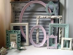 Pink Green and Cream Vintage Frame Set by WillowsEndCottage