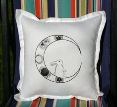 My original hand drawn Moon Bunny design hand screen printed onto a hand-sewn cotton cushion cover using eco friendly water-based inks.