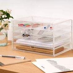 5 Drawer Acrylic Unit A versatile box with 5 pull out drawers that can be used to store make-up, stationery, haberdashery items or jewellery. Muji Storage, Desk Storage, Makeup Storage, Muji Stationary, Pull Out Drawers, Built In Desk, Office Organization, Organizing, Home Office