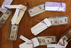 35 Cute And Easy-To-Make Wedding Favor Ideas - I especially love the Scrabble tile magnets idea!