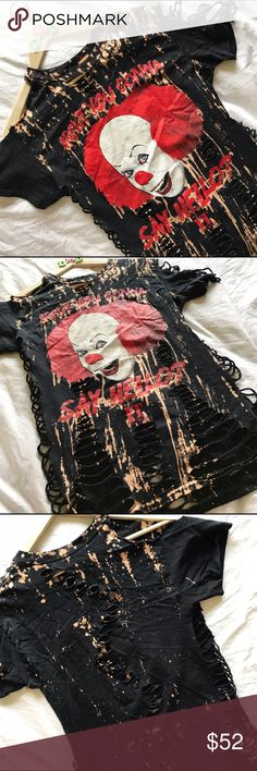 "CUSTOM • Bleachwd cut up ""IT"" revamped t-shirt  BLEACHED CUT UP ""IT""  REVAMPED T-SHIRT * size small --- • Pennywise, the clown from the movie ""IT"" • custom bleaching and cut up and distressed by me • only one of its kind! --- #pennywise #stephenking #it #horror #horrormovie #custom #customtshirt #cutup #bleach #customshirt #distressed #revamped #restyled #refashioned Hot Topic Tops Tees - Short Sleeve"