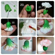 Gumpaste Carnations - no special cutters required (with lots of pictures!) - CakesDecor