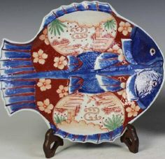Vintage 1950s Imari Style Fish Dish Imari Style Porcelain Fish Trinket Dish Chinoiserie Porcelain Fish
