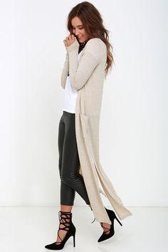 Cute Beige Sweater - Long Sleeve Sweater - Long Cardigan - $44.00