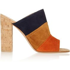 Gianvito Rossi Color-block suede and cork mules ($360) ❤ liked on Polyvore featuring shoes, heels, high heels, sapatos, sandals, orange, high heel mule shoes, block heel shoes, high heel shoes and heeled mules