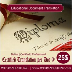 Certified Translation of your Educational Documents Starting from just 25$ Get your documents translated in 400 language options. Certified and best quality translation