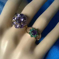 Deep beautiful purple amethyst vintage rings 💜