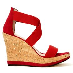 Fab. Miami wedge red, with elastic bands
