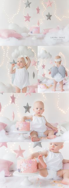 Stars and clouds cake smash session by Laura Sanz Photography
