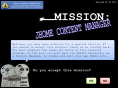 Mission JHome Content Manager intro page - 2010 SharePoint Training   JHHC 2013