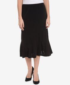 NY Collection Ruffled Midi Skirt