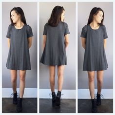 A Babydoll Tee Dress in Grey