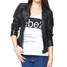 Leather Bomber Biker Jacket For Women'S Black/Red/Brown Leather Jackets Online, Jackets For Women, Black Leather, Sleeves, Biker, Stuff To Buy, Motorcycle, Shopping, Brown
