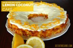 An easy recipe for low carb lemon coconut cake that is sugar free, wheat free and gluten free. Ice with my yoghurt, cream cheese and lemon frosting. Coconut Cake Easy, Lemon And Coconut Cake, Coconut Flour, Coconut Pancakes, Low Carb Carrot Cake, Low Carb Mug Cakes, Easy Cake Recipes, Low Carb Recipes, Real Food Recipes