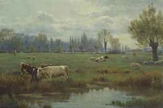 Richard E. Beavis (1824-1896)  Cattle and sheep in a water meadow.  So serene!